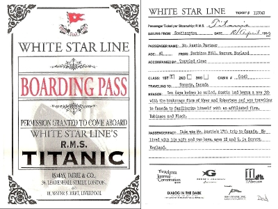 Boarding pass reproduction for the titanic