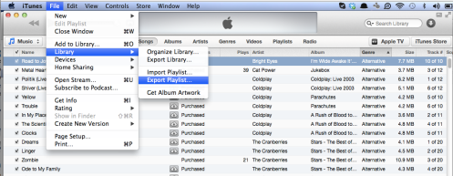 Export Playlist in iTunes 11.0.1
