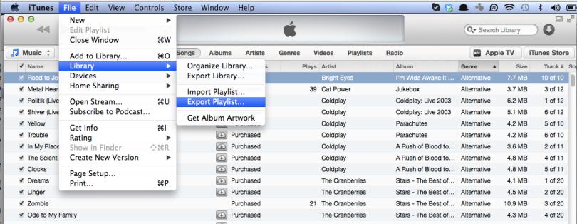 Export Playlist in iTunes 11.0.1