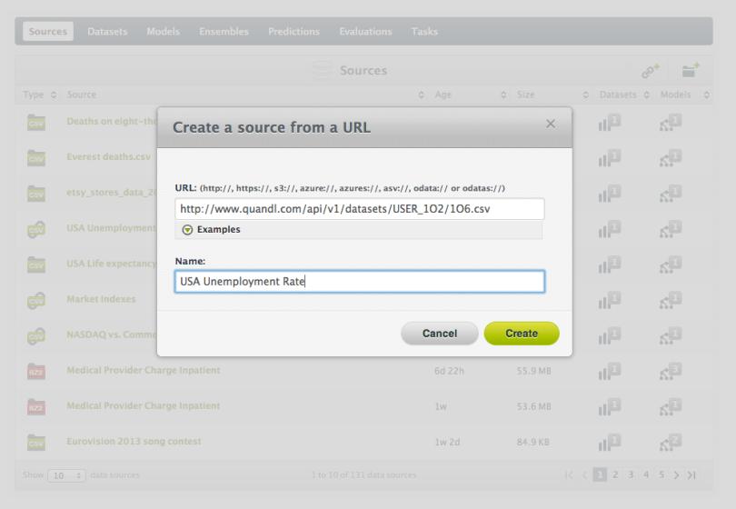 bigML Upload Remote Source