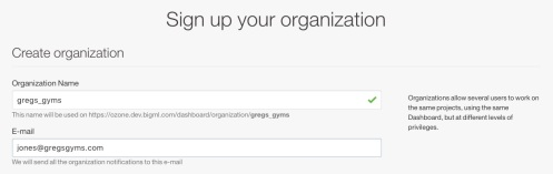 Organization sign up