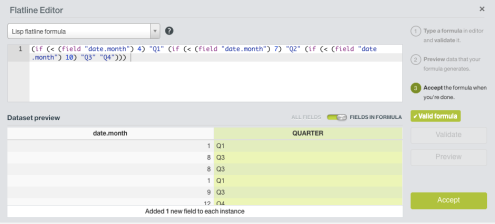 The flatline editor is used to add quarterly features to dataset.