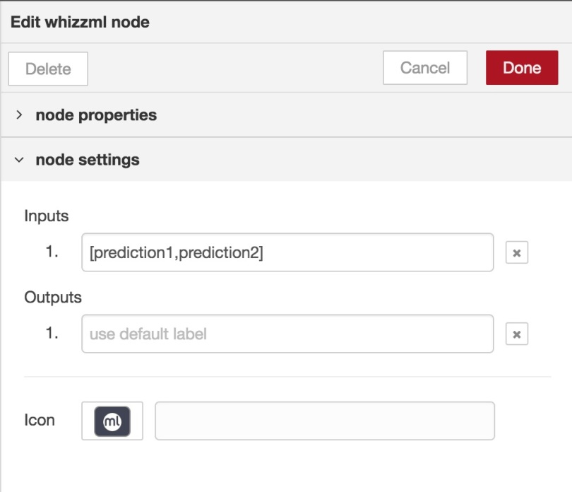 Specifying the inputs to the WhizzML node